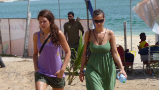 Beach tourists in Sri Lanka